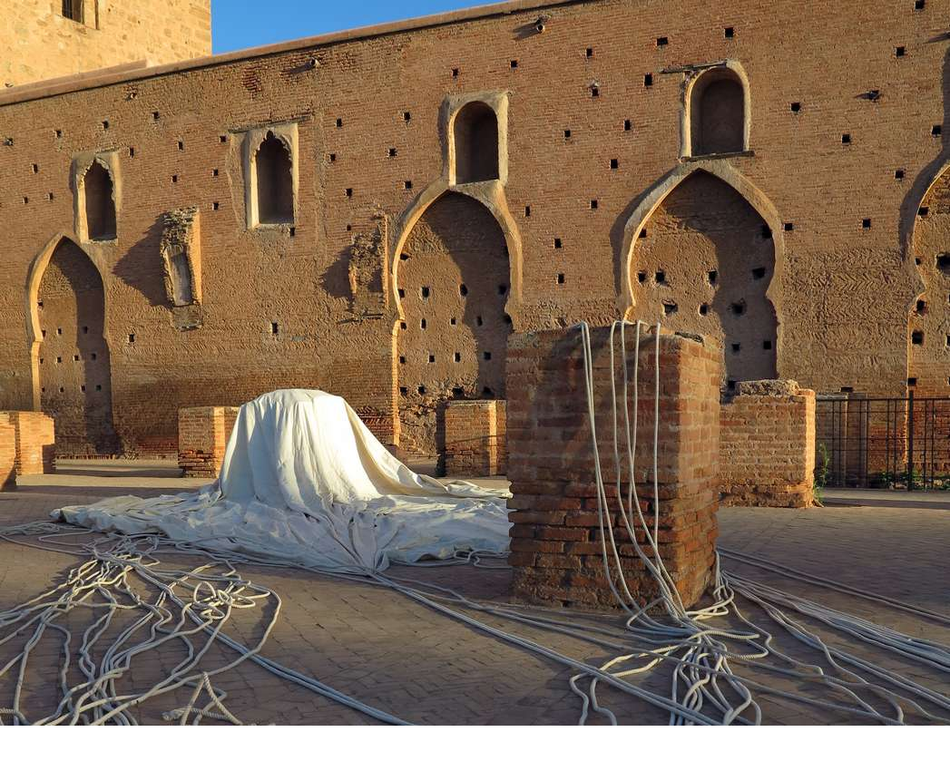 Parachute, canvas ropes and metal eyelets, 9 m in diameter, Koutoubia Mosque, 2016